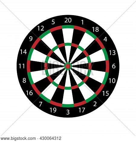 Vector Flat Cartoon Colored Darts Board Target Isolated On White Background
