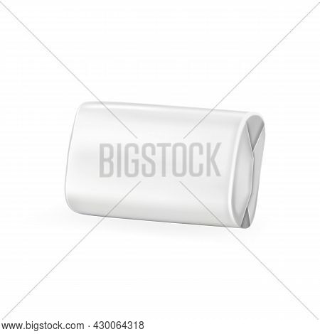 Soap Blank White Foil Of Paper Packaging Vector. Skincare Anti-bacterial Soap Package. Healthcare Tr