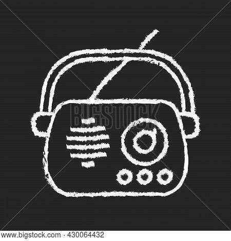 Antique Radio Chalk White Icon On Dark Background. Old Appliance. Collectable Vintage Radio Model. D