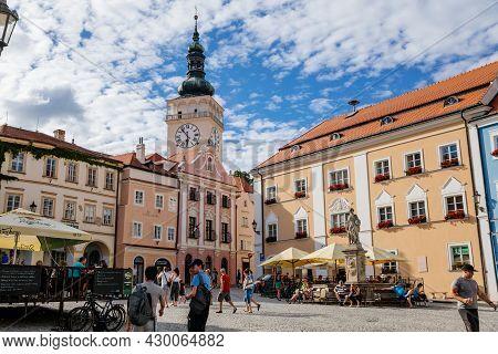 Mikulov, South Moravian Region, Czech Republic, 05 July 2021: Medieval Observation Clock Tower Of St