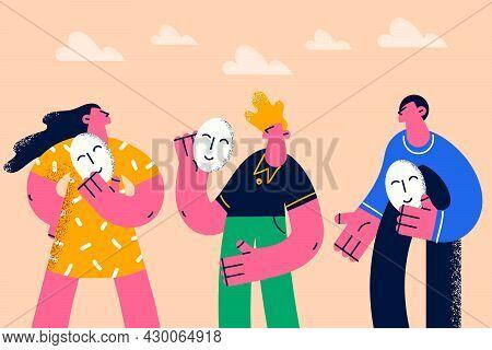 Positivity, Changing Mood Emoji Concept. Group Of Young People Standing Holding Smiling Masks Emoju