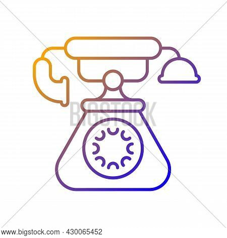 Vintage Telephone Gradient Linear Vector Icon. Old School Rotary Phone. Candlestick Telephone. Old F