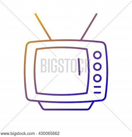 Old-style Television Gradient Linear Vector Icon. Tv Older Model. Transmitting Moving Images In Mono