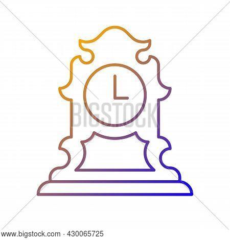 Vintage Tabletop Clock Gradient Linear Vector Icon. Antique Table Clock. Collectible Rare Item. Retr