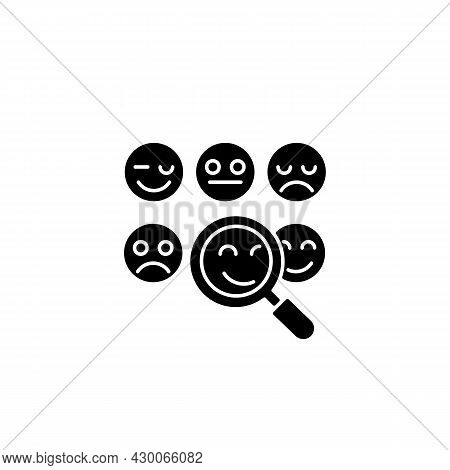 Reading Emotions Black Glyph Icon. Face-to-face Communication. Non-verbal Cues. Analyzing Facial Exp