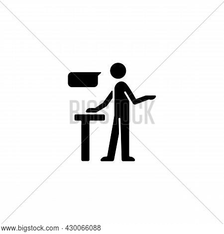 Confident Speaking Black Glyph Icon. Assertive Public Speaker. Expressing Opinions With Conviction.
