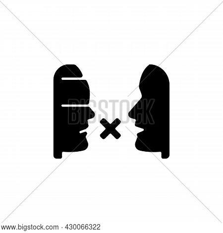 Biases Black Glyph Icon. Prejudice Toward Group. Impact On Relationships. Judgement Based On Social