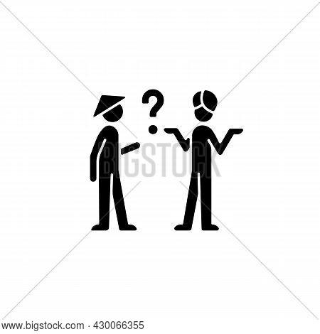 Cultural Barriers Black Glyph Icon. Cross-cultural Communication. Behavior Differences. Intercultura
