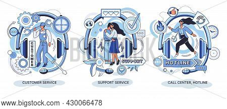 Customer Support Call Center. Personal Assistant Service, Person Advisor Hotline And Helpful Advice