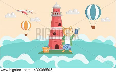 Sea Voyage To Island Travel Concept And Adventure Tourism. Journey, Summer Vacation To Green Isle In