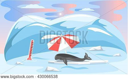 Whale Lies Under Umbrella And Escape From Climate Change And Global Warming. Animal During Global Wa