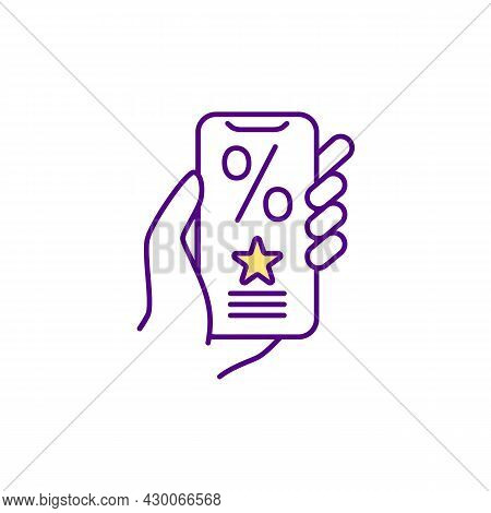 Person Handles Smartphone Rgb Color Icon. Online Shopping. Digital Loyalty Program Card. Discounts A