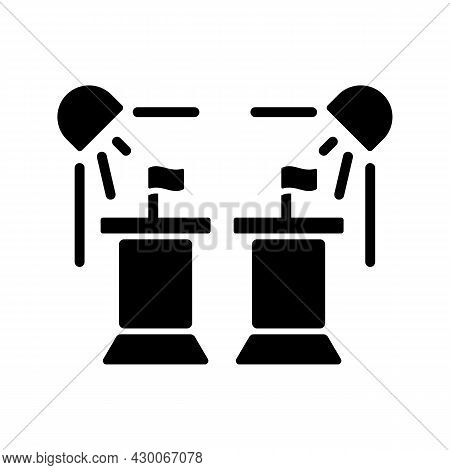 Political Show Black Glyph Icon. President Debate Broadcast On Television. Government Congress. Watc