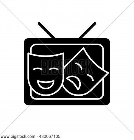 Tv Drama Black Glyph Icon. Theatrical Performance Translation On Display. Comedy Acting. Television
