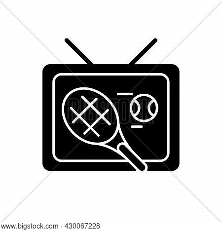 Sports Show Black Glyph Icon. Tennis Competition Broadcast. Professional Tournament On Television. T