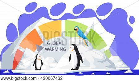 Penguins And Parrot During Melting Glaciers. Polar Animals On Ice Floe Asking For Help. Polar Birds