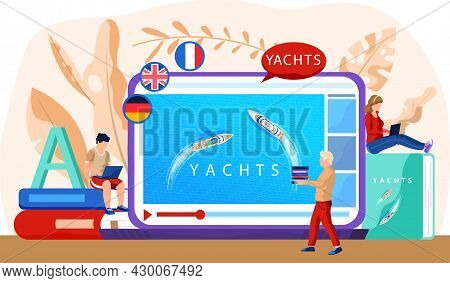 Tourism And Boat Trips, Yacht Regatta Website With Video About Sailing Ship Floating In Ocean. Summe