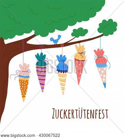 School Cones Hanging On The Tree.german Text, School Cones Celebration.template For Invitation To Ce