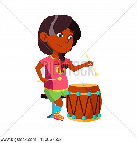 Girl Kid Playing On Drum Musical Instrument Vector. Indian Little Lady Play Classic Music On Drum Wi