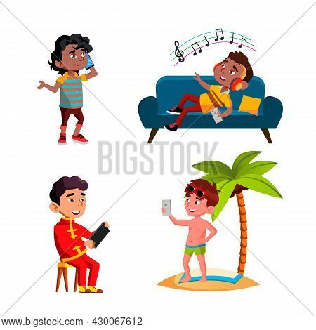 Boys Children Using Smartphone Device Set Vector. Kids Talking On Smartphone And Playing Game, Liste