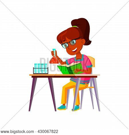 School Girl Scientist Making Experiment Vector. Indian Schoolgirl Reading Book And Make Chemical Exp