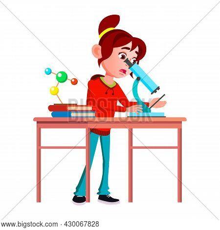 Schoolgirl Scientist Research By Microscope Vector. Expressive Caucasian School Girl Scientist Resea