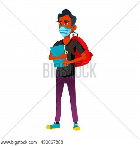 Teen Boy Wearing Facial Mask Go To College Vector. Teenager Student With Mask On Face, Backpack And