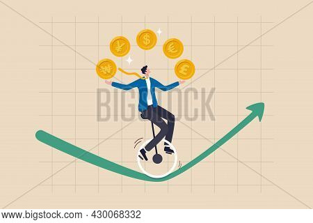 Forex, Foreign Exchange Trading, Invest In Currency Price Or Country Economic Speculation Concept, B