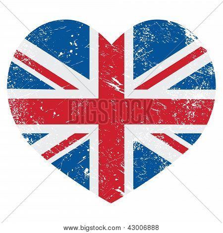 UK Great Britain retro heart flag - vector