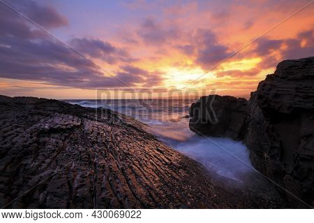 Sunset Over The Ocean And Rocks At Green Cape On Nsw South Coast