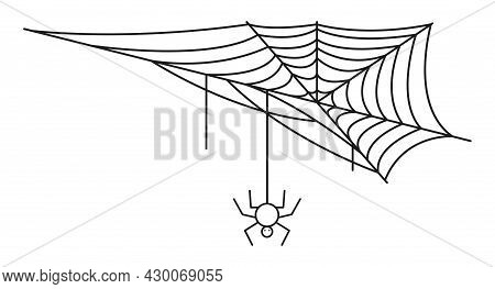 Corner Spideweb Linear Icon. Halloween Line Art. Isolated Black Net With Spider On White Back Ground
