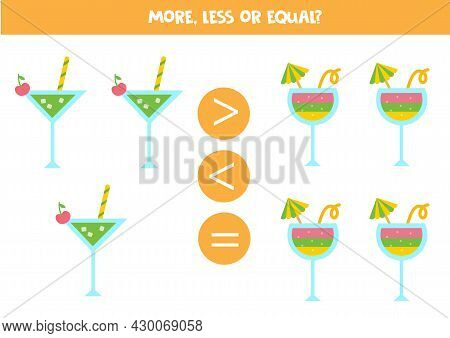More, Less, Equal With Cute Summer Cocktails. Math Game For Kids.