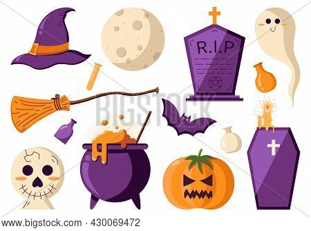 Icons Set For A Halloween Party, Spooky And Magical Items In A Flat Style Isolated On A White Backgr