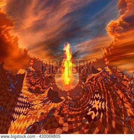 Ancient sailboat travels in wonderland. Surreal chessboard. Burning landscape. 3D rendering