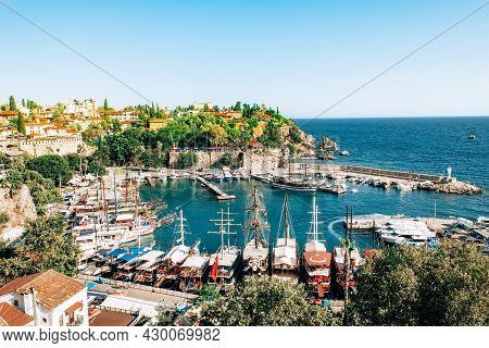 Antalya, Turkey - July, 2021: Top Aerial View Of Marina Ancient Port In Old Town Kaleici District In