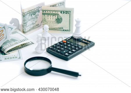 Magnifier, Calculator, Paper Money And White Chess Isolated On White Background With Copy Space. Con