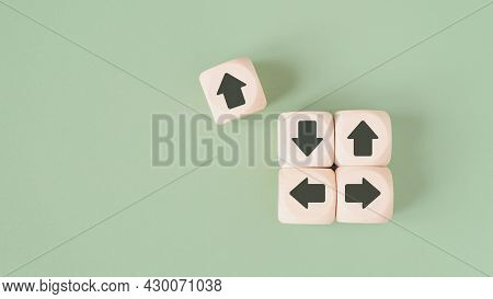 Outstanding Wooden Cube With Arrow Pointing Difference Direction From The Others For Think Different