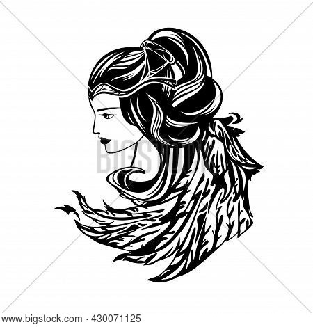 Beautiful Winged Woman With Long Hair Representing Angel Or Goddess - Spiritual Symbol Black And Whi