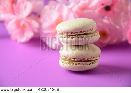 Colorful Macarons Cakes. Small French Cakes. Sweet And Colorful French Macaroons, Colorful Almond Co
