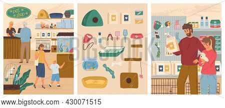 Pet Shop Vector Illustration Set. People With Dog Buying Canine Food In Petshop. Animal Store Interi
