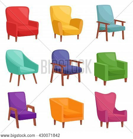 Set Of Comfortable Armchairs For Living Room, Vector Illustration