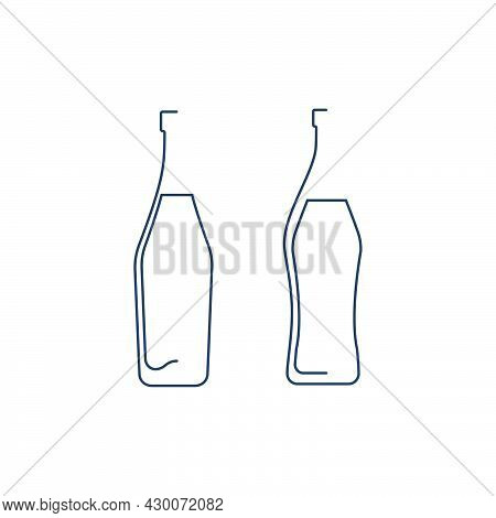 Bottle Continuous Line Martini And Vermouth In Linear Style On White Background. Solid Black Thin Ou
