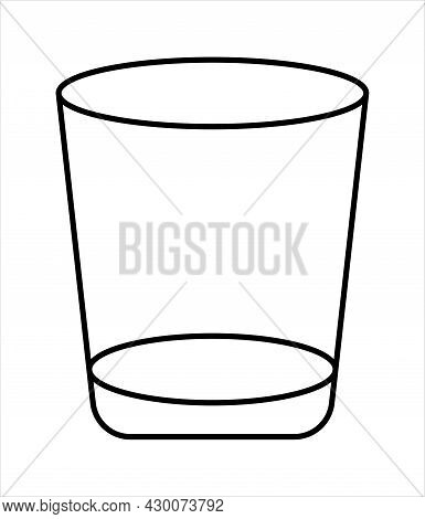 Brandy Empty Glass Logo. Black Linear Glass. Vector Icon. Bramdy Glass On A White Background.