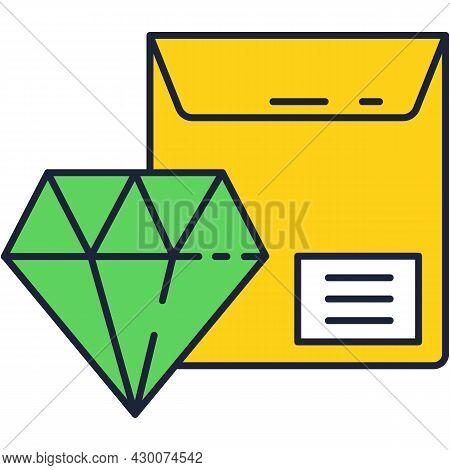 Jewel Brilliant Gem And Pocket Parcel Vector Icon