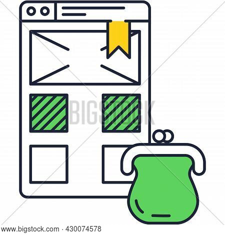 Electronic Wallet Bank Account Webpage Vector Icon