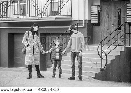 Family Wearing Medical Mask. Family In Protective Mask, Medical Mask. Coronavirus, Illness, Infectio