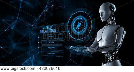 Pr Public Relations. Robot Pressing Virtual Button 3d Render Illustration