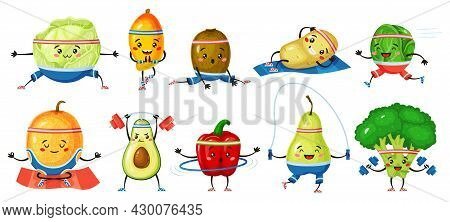 Fruits And Vegetables Exercising. Melon, Kiwi In Yoga Poses, Broccoli With Dumbbells. Strong Healthy