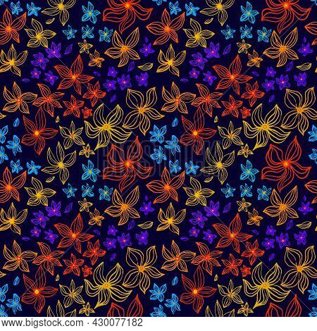 Abstract Flowers Vector Seamless Pattern With Drawing Yellow, Gold, Red, Blue. Floral Watercolor Bac