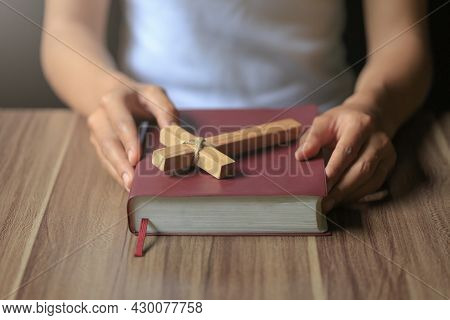 Religious Young Woman Praying To God In The Morning, Spirtuality And Religion, Religious Concepts